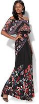 New York & Co. Off-The-Shoulder Maxi Dress - Black Floral