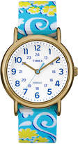 Timex Womens Weekender Blue and White Floral Strap Watch