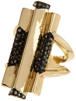 House Of Harlow Pave Hematite Defined Art Deco Ring - Size 7
