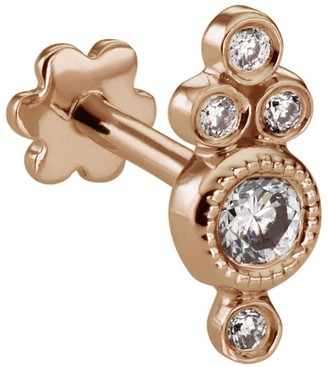 Maria Tash Rose Gold Four Diamond Trinity Threaded Earring
