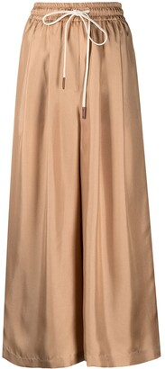 Alysi Cropped Wide-Leg Silk Trousers