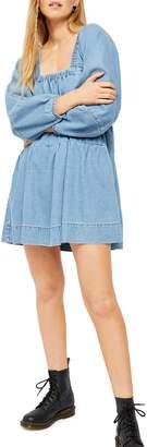Free People Blue Jean Babydoll Denim Mini Dress