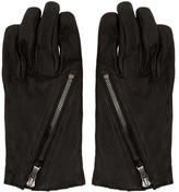 The Viridi-anne Black Diagonal Zipper Gloves