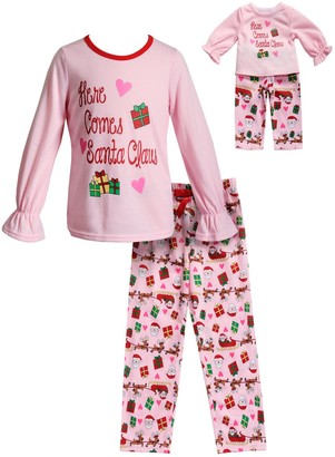 "Dollie & Me Girls 4-14 Here Comes Santa Claus"" Christmas Top & Bottoms Pajama Set & Matching Doll Pajamas"