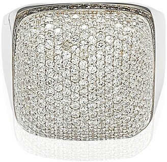Suzy Levian Sterling Silver White CZ Golden Square Ring