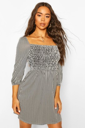 boohoo Shirred Front Striped Puff Sleeve Dress