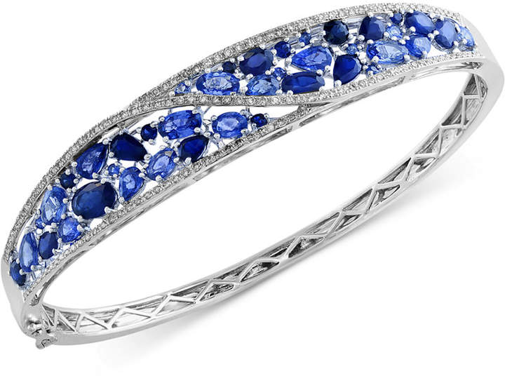 Effy Royale Bleu by Sapphire (7-1/3 ct. t.w.) and Diamond (1/2 ct. t.w.) Bangle Bracelet in 14k White Gold
