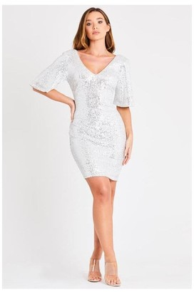 Skirt & Stiletto White Sequin Mini Dress with Kimono Sleeves