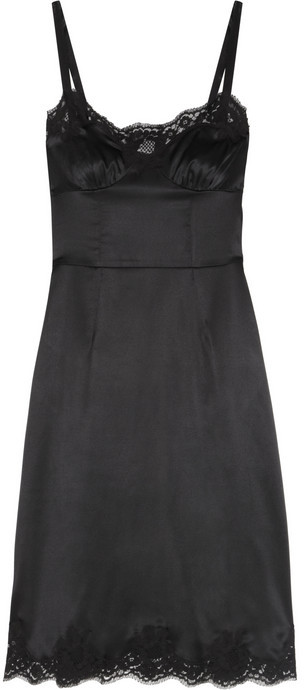 Dolce & Gabbana Lace-trimmed stretch-silk satin dress