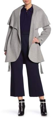 Tahari Marilyn Cape Overlay Wool Blend Coat