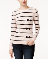 Maison Jules Striped Bow-Print Sweater, Only at Macy's