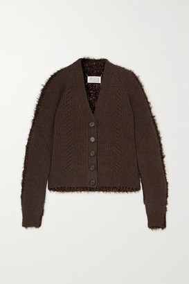 Maison Margiela Paneled Ribbed Wool And Tinsel Cardigan - Brown