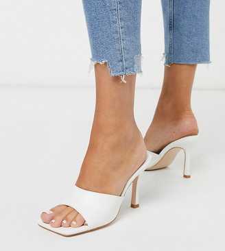Public Desire Wide Fit Exclusive Harlow square toe block heel mule sandal in white