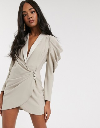 ASOS DESIGN mini drape front tux dress