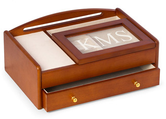 Bey-Berk Men's Personalized Wooden Charge Station Valet
