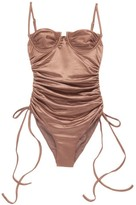 Isa Boulder - Nina Underwired Ruched Swimsuit - Womens - Brown