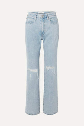 Slvrlake SLVRLAKE - London Distressed High-rise Straight-leg Jeans - Light denim