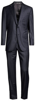 Canali Classic-Fit Purple Pinstripe Wool Suit