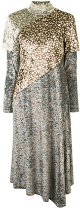 GOEN.J Layered Floral Velvet Dress
