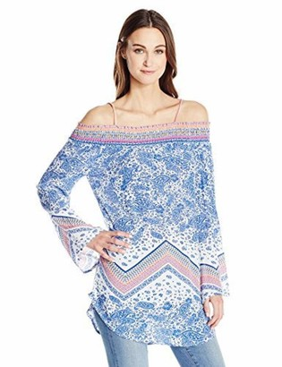 Green Dragon Women's Paisley Scarf Sunset Beach Off The Shoulder Tunic