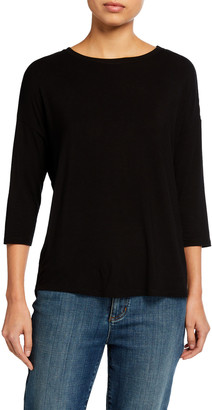 Majestic Filatures Relaxed 3/4-Sleeve Boat-Neck Tee