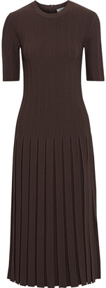 CASASOLA Sibilla Pleated Ribbed-knit Midi Dress