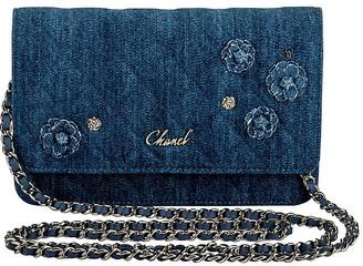 One Kings Lane Vintage Chanel Denim Camellia Crossbody Wallet - Vintage Lux