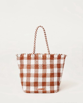 Loeffler Randall Tatia Woven Leather Tote Timber/White