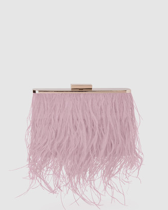 Olga Berg Women's Neutrals Clutches - Estelle Feather Clutch - Size One Size at The Iconic