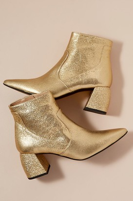 Metallic-Glitter Leather Ankle Boots
