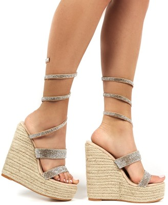 Public Desire Uk Lux Wrap Around Diamante Wedged Heel