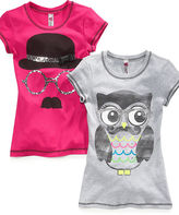 Beautees Kids T-Shirts, Girls Mustache Graphic Tees