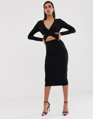 Bec & Bridge madame noir cut out midi dress-Black