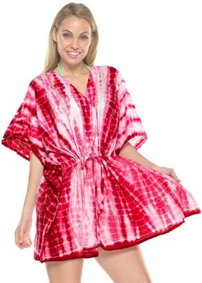 LA LEELA Ladies Hand Tie-Dye Beach Wraps and Cover ups Women's Bohemia Beach Dress Short Sleeves Boho Drawstring Swimwear for Holiday Beachwear Cotton Bikini Loose Bathing Suit Blood Red_N770