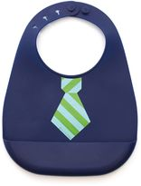 B.ella Tunno Mini Mister Tie Stripe Silicone Wonder Bib in Navy/Green