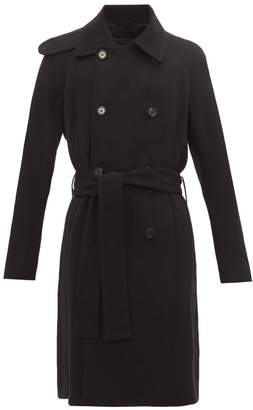Ann Demeulemeester Double Breasted Wool Blend Trench Coat - Mens - Black