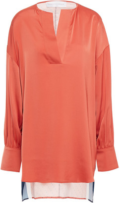 Victoria Victoria Beckham Color-block Printed Satin Top