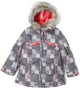 London Fog Gray Patchwork Removable-Liner Puffer Coat - Girls