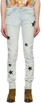 Amiri Blue Leather Stars Stack Jeans