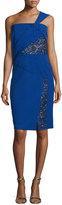 J. Mendel One-Shoulder Dress W/Lace Insets, Imperial Blue