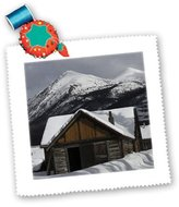 3dRose LLC qs_57798_2 Krista Funk Creations Cabins - Snowy Cabin Beside the River in Carcross Yukon - Quilt Squares