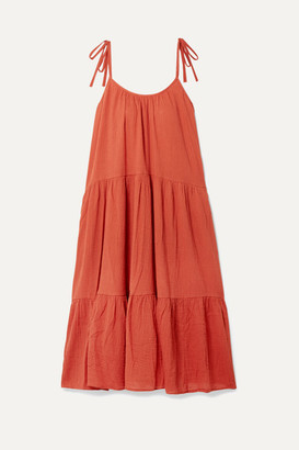 Honorine - Daisy Tiered Crinkled Cotton-voile Dress - Brick