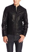 Perry Ellis Men's Textured Faux Leather Bomber