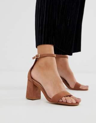 Aldo Eteisa suede block heeled sandals in brown