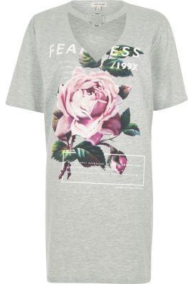River Island Womens Grey rose print choker ring oversized T-shirt