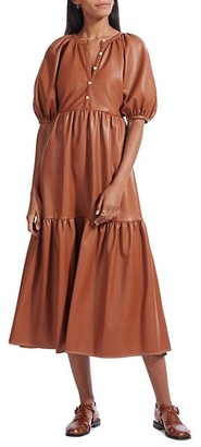 STAUD Demi Faux Leather Midi Dress