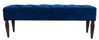 Claudia Velvet Trim Upholstered Classic Long Bench