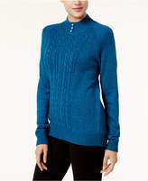 Karen Scott Pearl-Embellished Mock-Neck Sweater, Created for Macy's