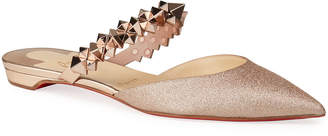 Christian Louboutin Planet Glitter Spike-Strap Red Sole Mules