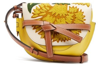 Loewe Gate Floral-embroidered Leather Cross-body Bag - Yellow Multi